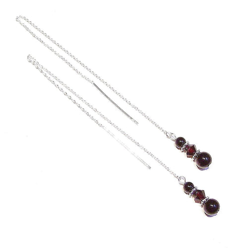 Black Onyx & Dark Red Swarovski Crystal Sterling Silver Pull Through Earrings 176mm