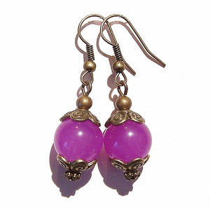Vintage Style Purpley/Pink Chalcedony Gemstone & Brass Earrings