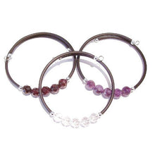 Load image into Gallery viewer, Set of 3 Semi-precious Rubber Bangles - Garnet, Amethyst & Rock Crystal