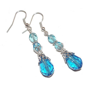 Aqua Blue Vintage Style Crystal Tear Drop Filigree Earrings