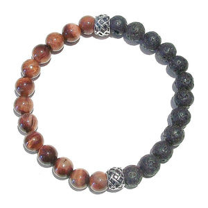 Black & Red Men's or Women's Gemstone Essential Oil Diffuser Bracelet - Lava / Red Tiger's Eye