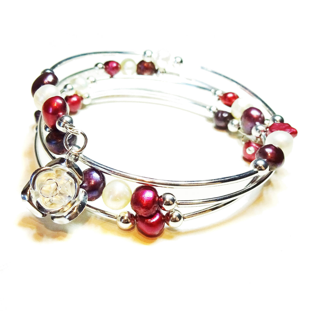 Burgundy, Pink & White Freshwater Pearl Memory Wire Bangle
