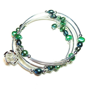 Green & Peacock Blue Freshwater Pearl Memory Wire Bangle