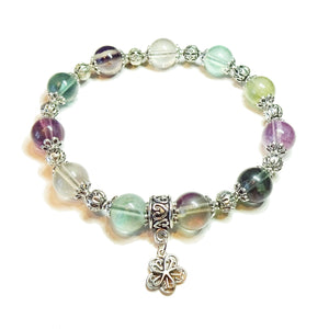 Rainbow Fluorite Gemstone Stretch Bracelet - Ap 19.5cm