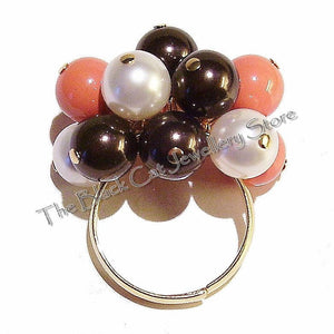 Ivory, Coral & Chocolate Swarovski Pearl Handmade Gold Plated Cha Cha Ring