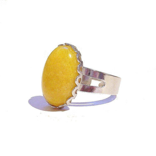 Gemstone Filigree Ring w Yellow Electric Spar - Adjustable