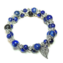 Load image into Gallery viewer, Blue Lapis Lazuli Gemstone & Lava Stone Essential Oil Diffuser Bangle