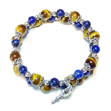 Load image into Gallery viewer, Brown Tiger's Eye & Blue Lapis Lazuli Gemstone Bangle