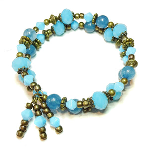 Apatite Blue Gemstone, Faceted Czech Glass & Antique Brass Bangle