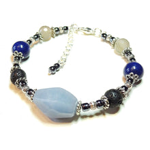 Load image into Gallery viewer, Blue Angelite, Mountain Jade Gemstone & Lava Stone Essential Oil Diffuser Bangle
