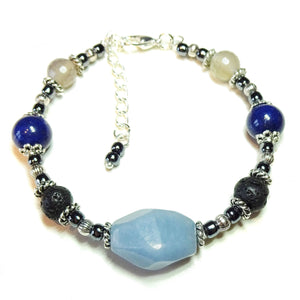 Blue Angelite, Mountain Jade Gemstone & Lava Stone Essential Oil Diffuser Bangle