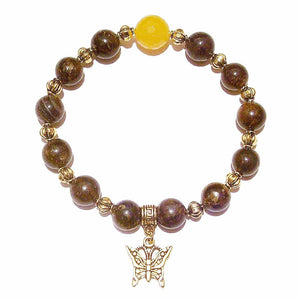 Bronzite, Yellow Jade Gemstone & Antique Gold-Tone Stretch Bracelet 20.5cm