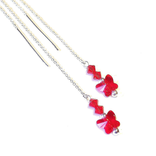 Red Swarovski Butterfly & Sterling Silver Long Drop Chain Ear Threads - 174mm