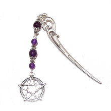 Load image into Gallery viewer, Antique Silver-Tone Pentagram Hair Stick w Purple Quartz