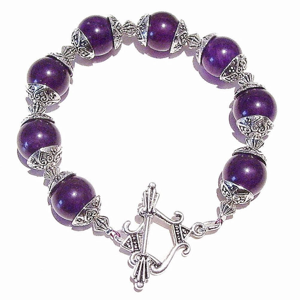 Purple Quartz Gemstone & Antique Silver Bracelet 20.5cm