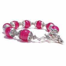 Load image into Gallery viewer, Pink Quartz Gemstone & Tibetan Silver-tone Bracelet 20.5cm