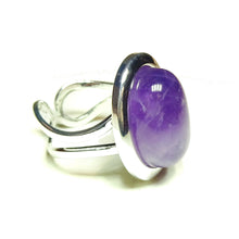 Load image into Gallery viewer, Purple Amethyst Classic Semi-precious Gemstone Adjustable Ring 23 x 17mm