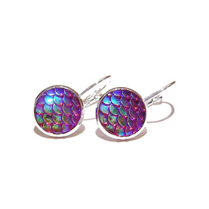 Mermaid / Dragon Scale Lever Back Earrings - Red / Blue