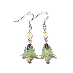 Lime Green & Yellow Lucite Lily Flower  Crystal Earrings