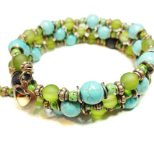 Load image into Gallery viewer, Olive Green, Turquoise, Copper & Lava Essential Oil Diffuser Bangle