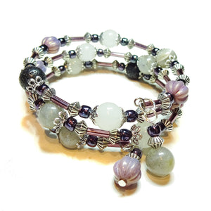 Pink Czech Glass, White Chalcedony & Grey Labradorite Essential Oil Diffuser Bangle