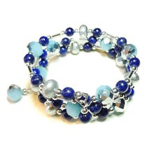Load image into Gallery viewer, Blue Lapis Lazuli Gemstone & Czech Glass Wrap Bangle
