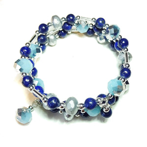 Blue Lapis Lazuli Gemstone & Czech Glass Wrap Bangle
