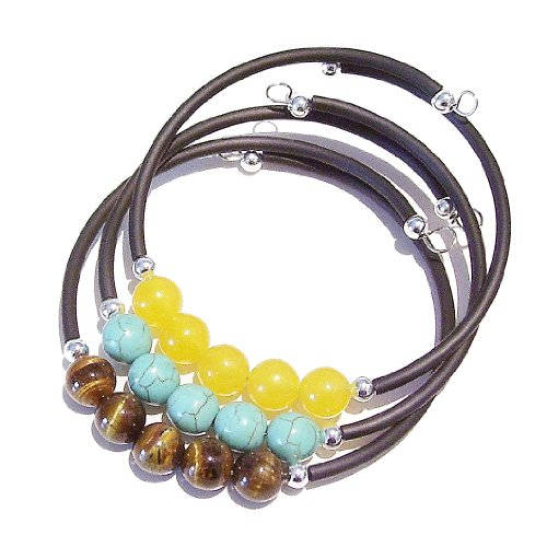 Set of 3 Semi-precious Rubber Bangles - Yellow Jade, Tiger's Eye & Turquoise