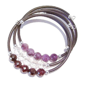 Set of 3 Semi-precious Rubber Bangles - Garnet, Amethyst & Rock Crystal