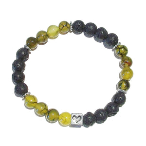 Black & Yellow Men's or Women's Gemstone Essential Oil Diffuser Bracelet - Lava / Dragon Vein Agate