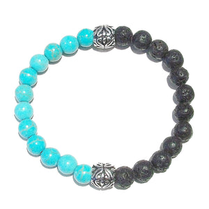 Black & Blue Men's Gemstone Essential Oil Diffuser Bracelet - Lava / Turquoise