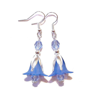 Blue Lucite Lily Flower & Crystal Drop Earrings