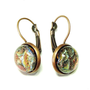 Dichroic Glass Antique Copper Lever Back Earrings - Fire
