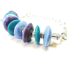 Load image into Gallery viewer, Purple, Teal, Blue Recycled African Glass Bead Bracelet