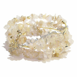 Golden Yellow Citrine Gemstone Memory Wire Cuff/Wrap Bangle