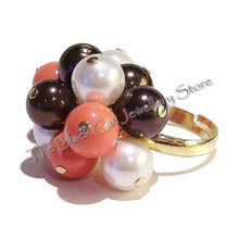 Load image into Gallery viewer, Ivory, Coral & Chocolate Swarovski Pearl Handmade Gold Plated Cha Cha Ring