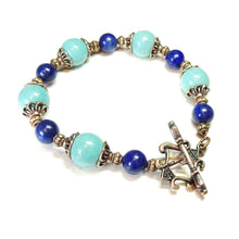 Load image into Gallery viewer, Lapis Lazuli, Turquoise & Antique Copper Gemstone Bracelet