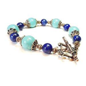 Lapis Lazuli, Turquoise & Antique Copper Gemstone Bracelet