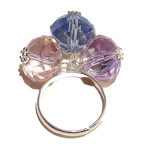 Sky Blue, Lilac & Pale Pink Faceted Crystal Cha Cha Ring