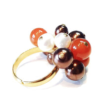 Load image into Gallery viewer, Orange Carnelian, Chocolate Swarovski & Cream Freshwater Pearl Handmade Gold Plated Cha Cha Ring