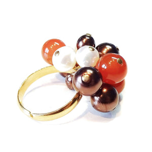Orange Carnelian, Chocolate Swarovski & Cream Freshwater Pearl Handmade Gold Plated Cha Cha Ring