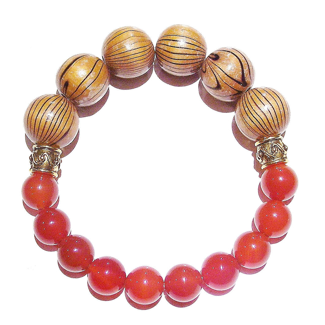 Orange Men's Gemstone Stretch Bracelet - Carnelian & Wood - Approx. 21cm
