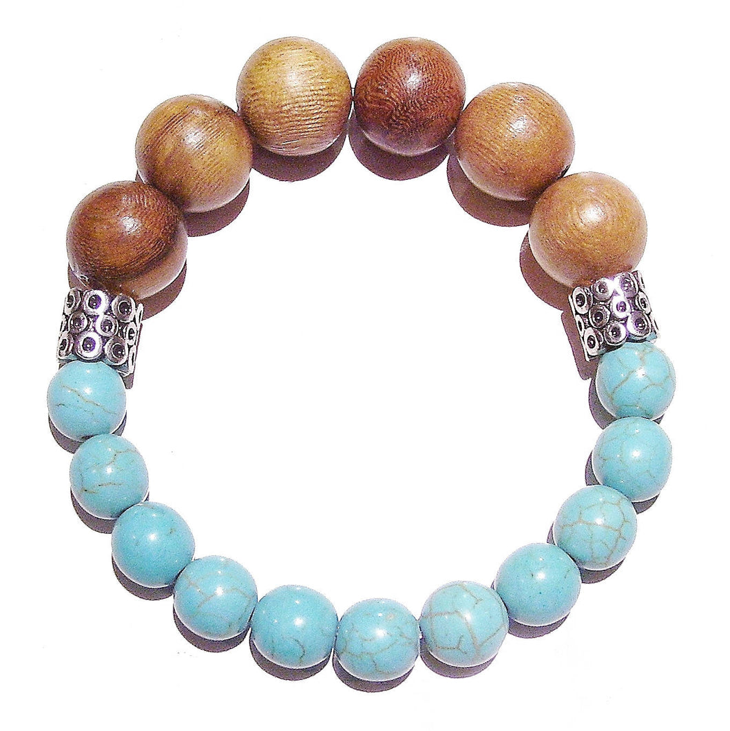 Men's Chunky Gemstone Stretch Bracelet - Turquoise & Wood - Approx. 21.5cm