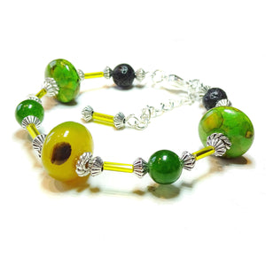 Yellow Agate, Quartz, Green Turquoise Matrix & Lava Essential Oil Diffuser Bangle