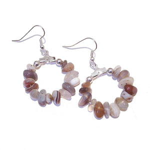Brown Grey Botswana Agate Gemstone Chip Hoop Earrings 25mm