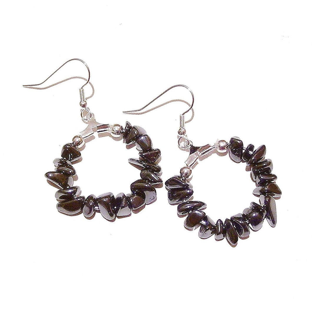 Grey Haematite Gemstone Chip Hoop Earrings 25mm