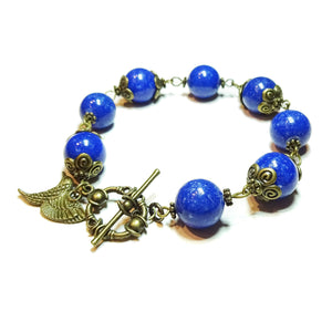 Blue Mountain Jade & Vintage Brass Bracelet 20.5cm