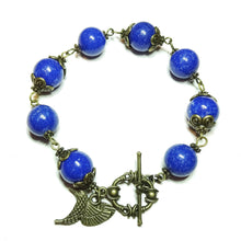 Load image into Gallery viewer, Blue Mountain Jade & Vintage Brass Bracelet 20.5cm