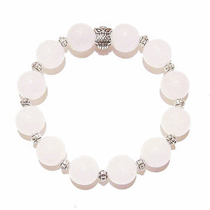 White Chalcedony Stretch Gemstone Bracelet w/ Owl Approx. 20cm