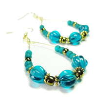 Load image into Gallery viewer, Teal Blue & Antique Gold Hoop Earrings with Czech Glass